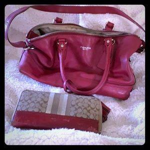 Coach deep red leather shoulder bag w/ wallet